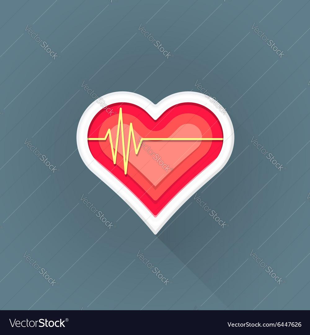Flat cardiac medicine symbol icon