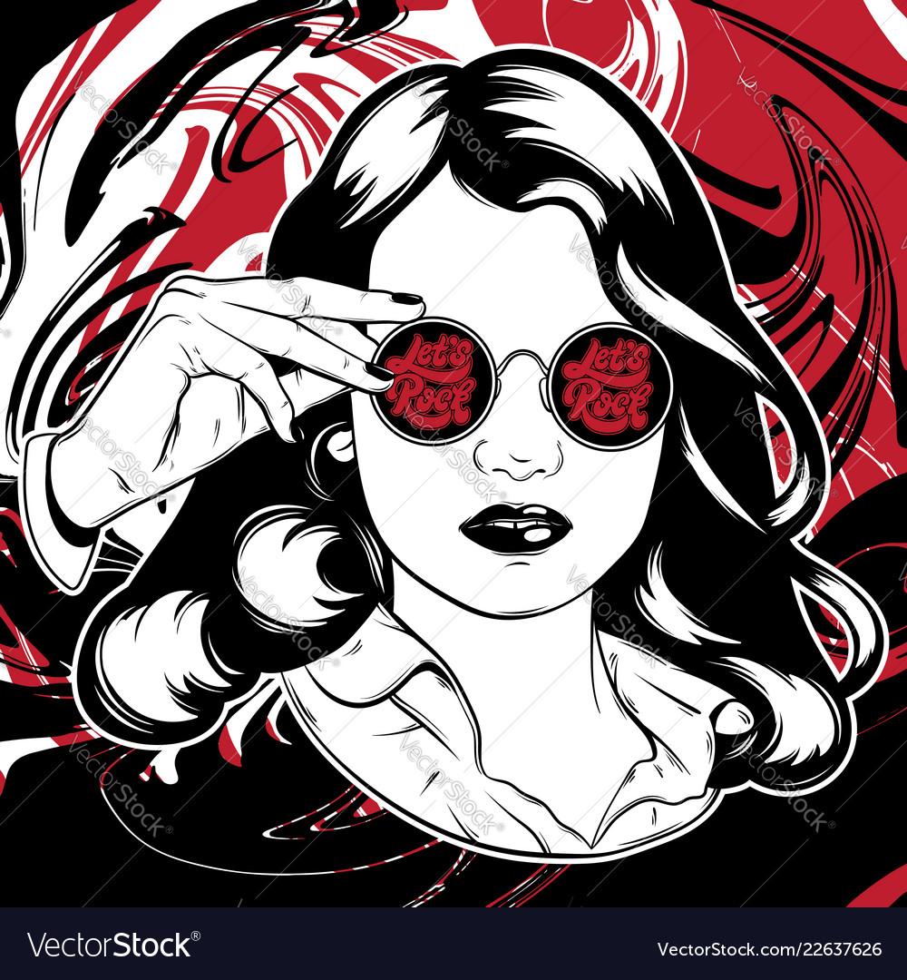 Hand drawn of pretty girl in sunglasses