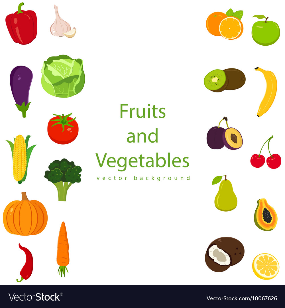 organic fruits and vegetables template healthy vector image
