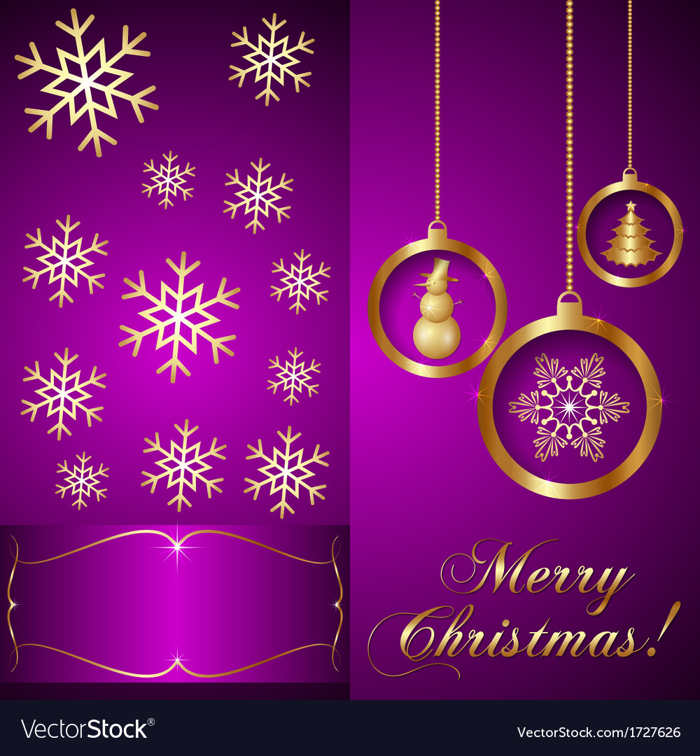 Pink Violet Christmas Invitation Card vector image