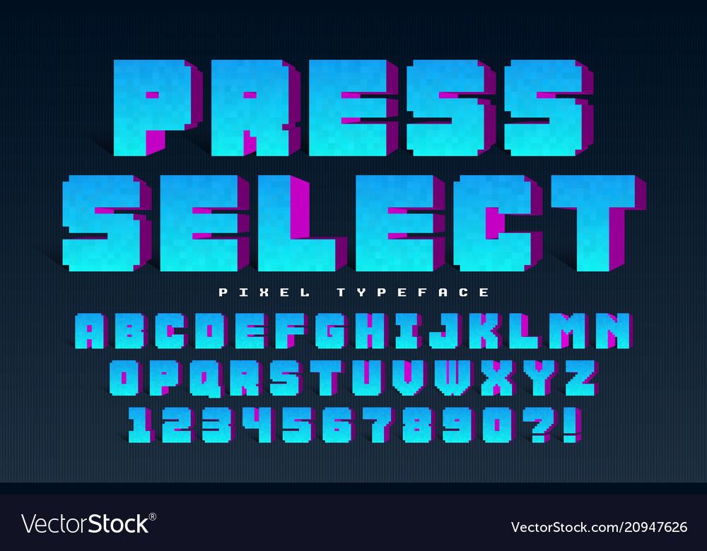 Pixel font design stylized like in 8-bit