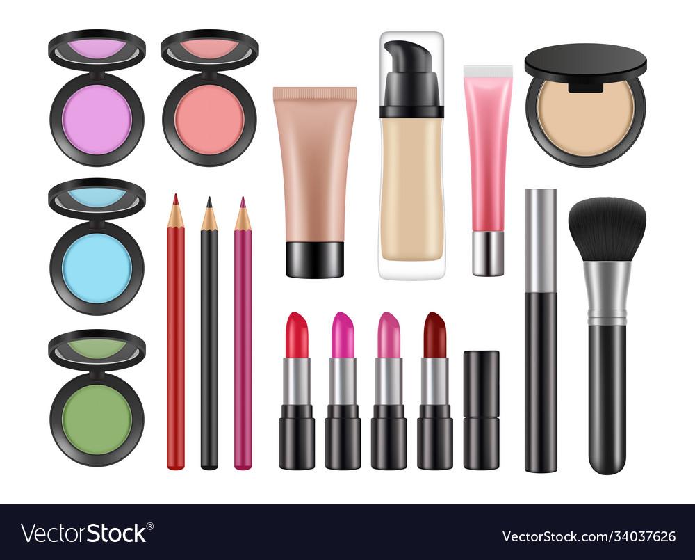 Realistic decorative cosmetics lipstick blush