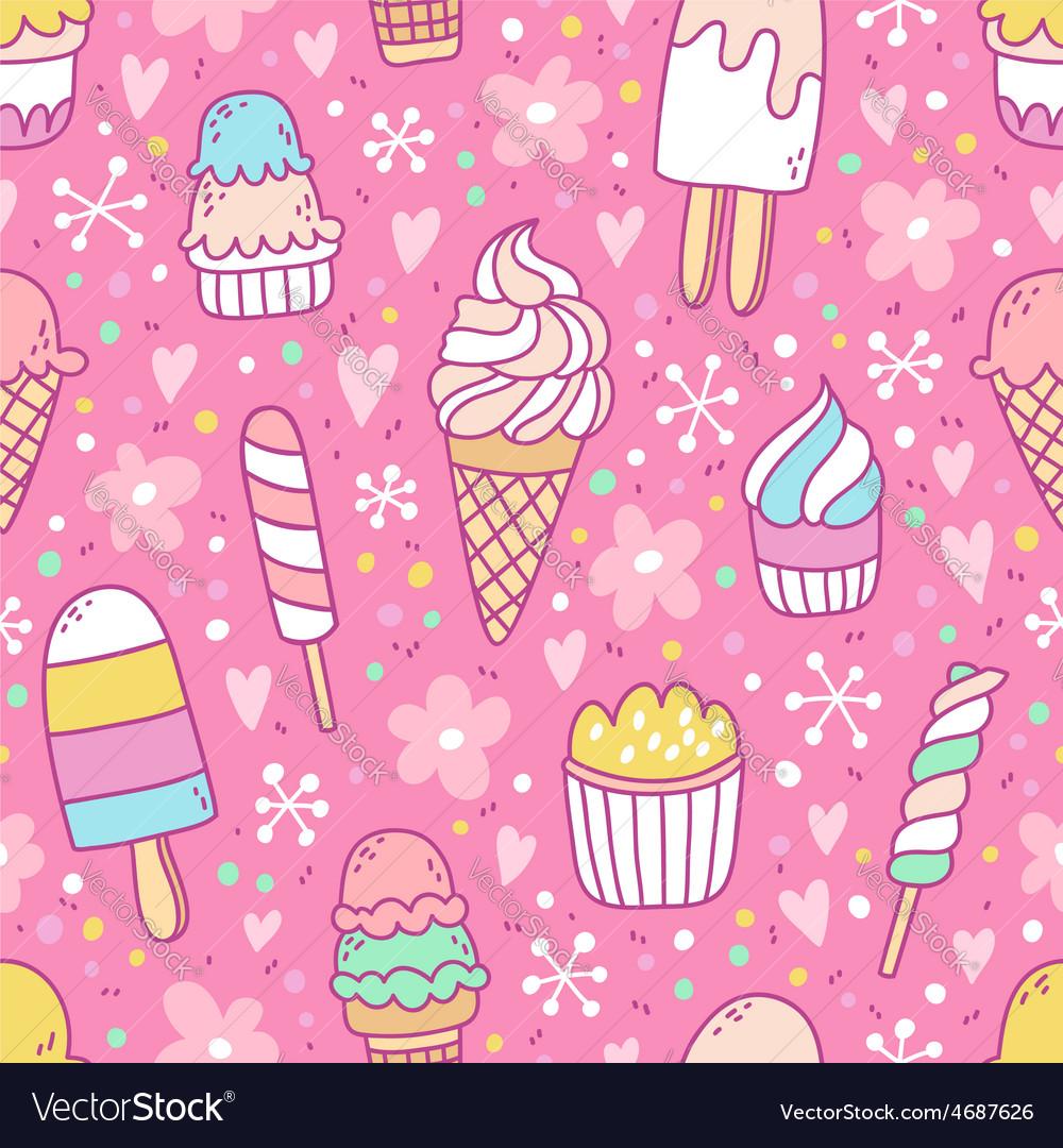 Yummy ice cream on pink background seamless
