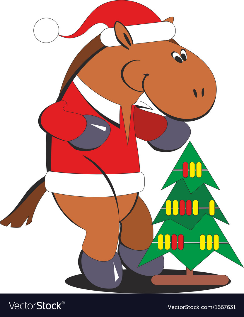 Christmas Horse Cartoon.Cartoon Horse With A Christmas Tree 010