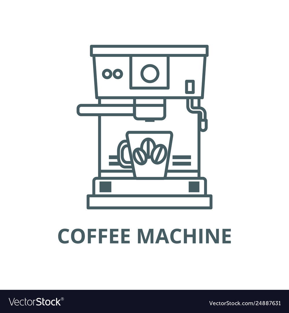 Coffee machine with cup line icon coffee