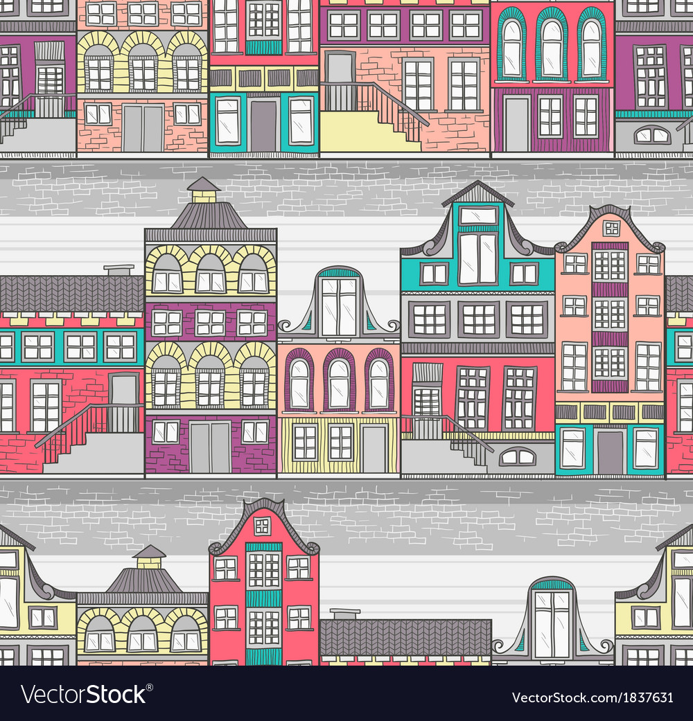 Cute Amsterdam houses seamless pattern