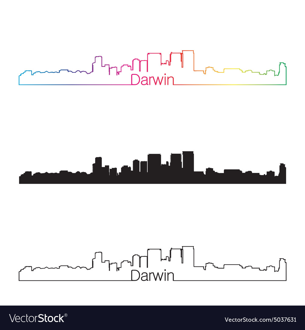 Darwin skyline linear style with rainbow