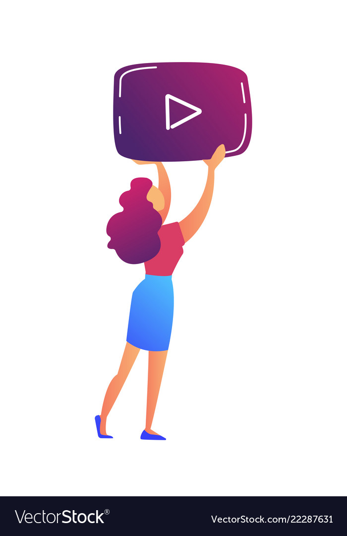 Female video blogger holding video player icon