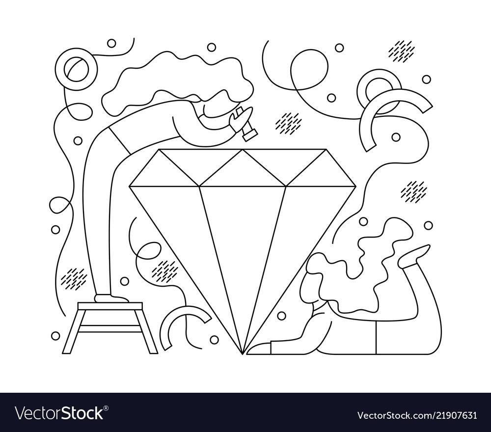 Flat girl jewelers around diamond