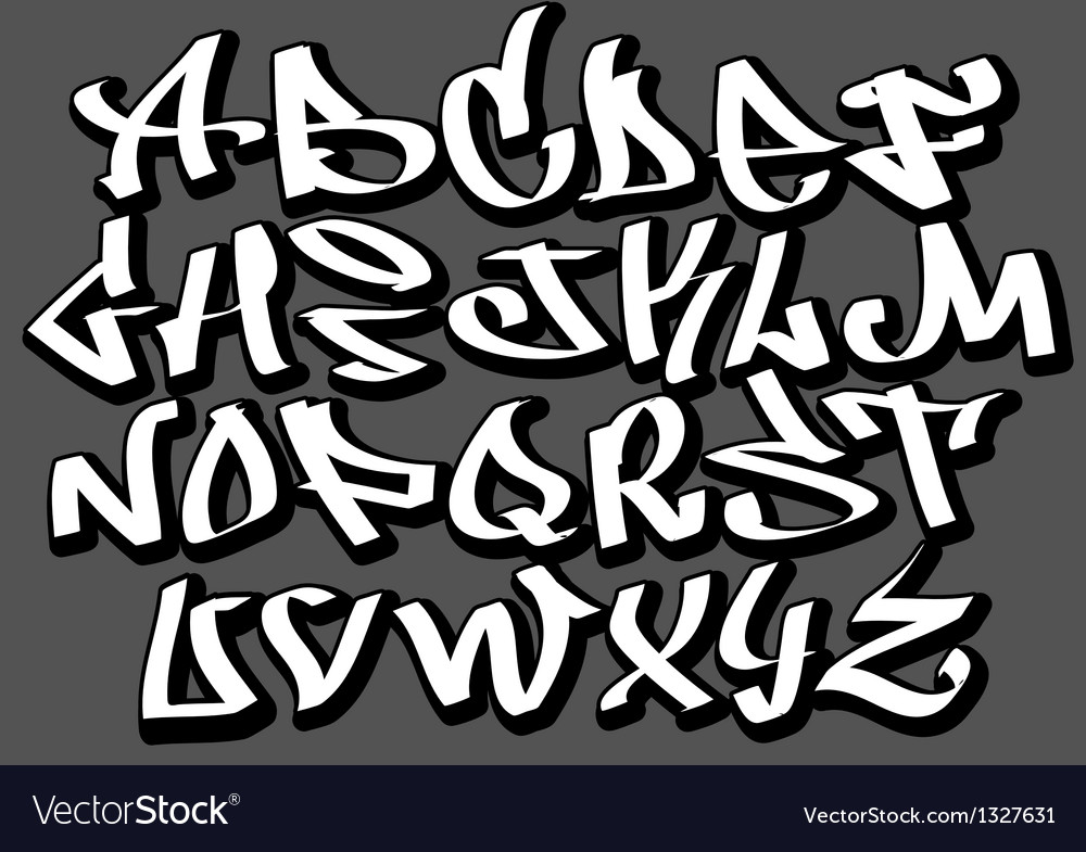 Graffiti font alphabet abc letters royalty free vector image - Alphabet graffity ...
