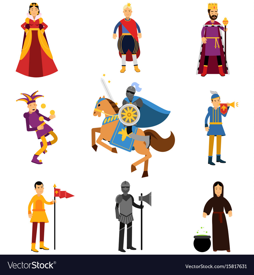 Medieval characters in the historical costumes of