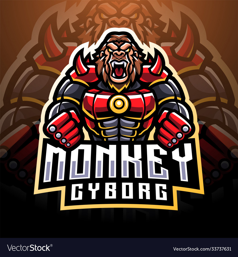 Monkey cyborg esport mascot logo