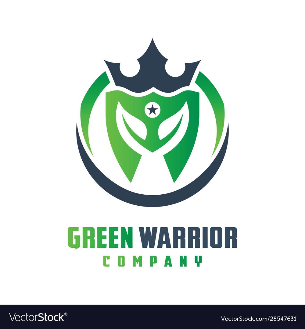 Natural warrior helmet logo design