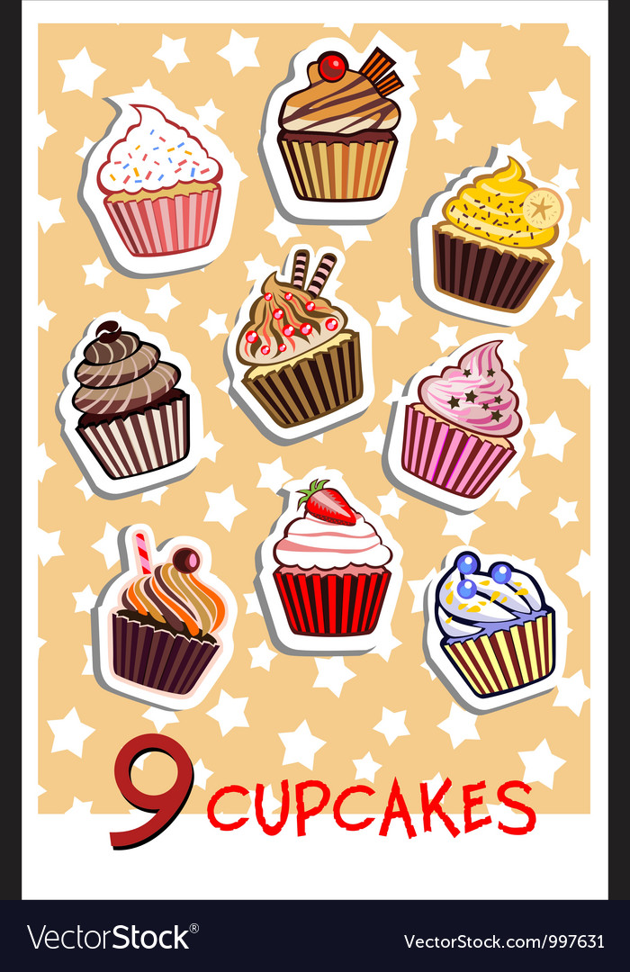 Nine delicious colorful cupcakes vector image