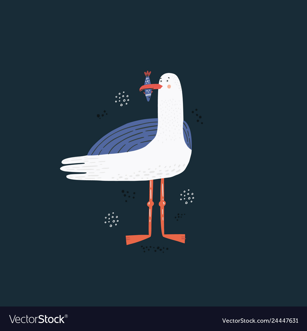 Seagull hand drawn vector