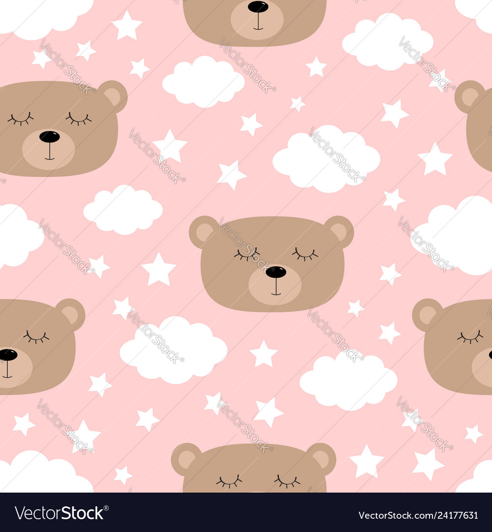 Seamless pattern sleeping bear face cloud in the