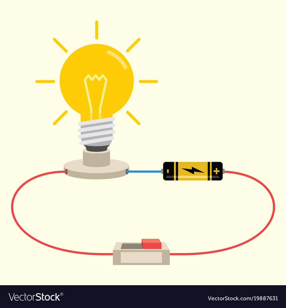 Simple electricity circuit Royalty Free Vector Image