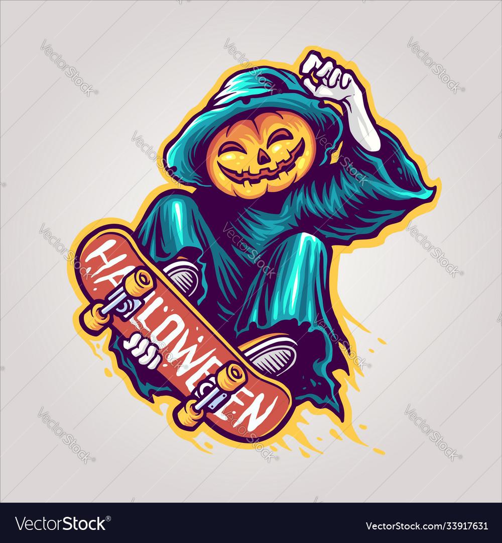 Skeleton skateboards halloween scary