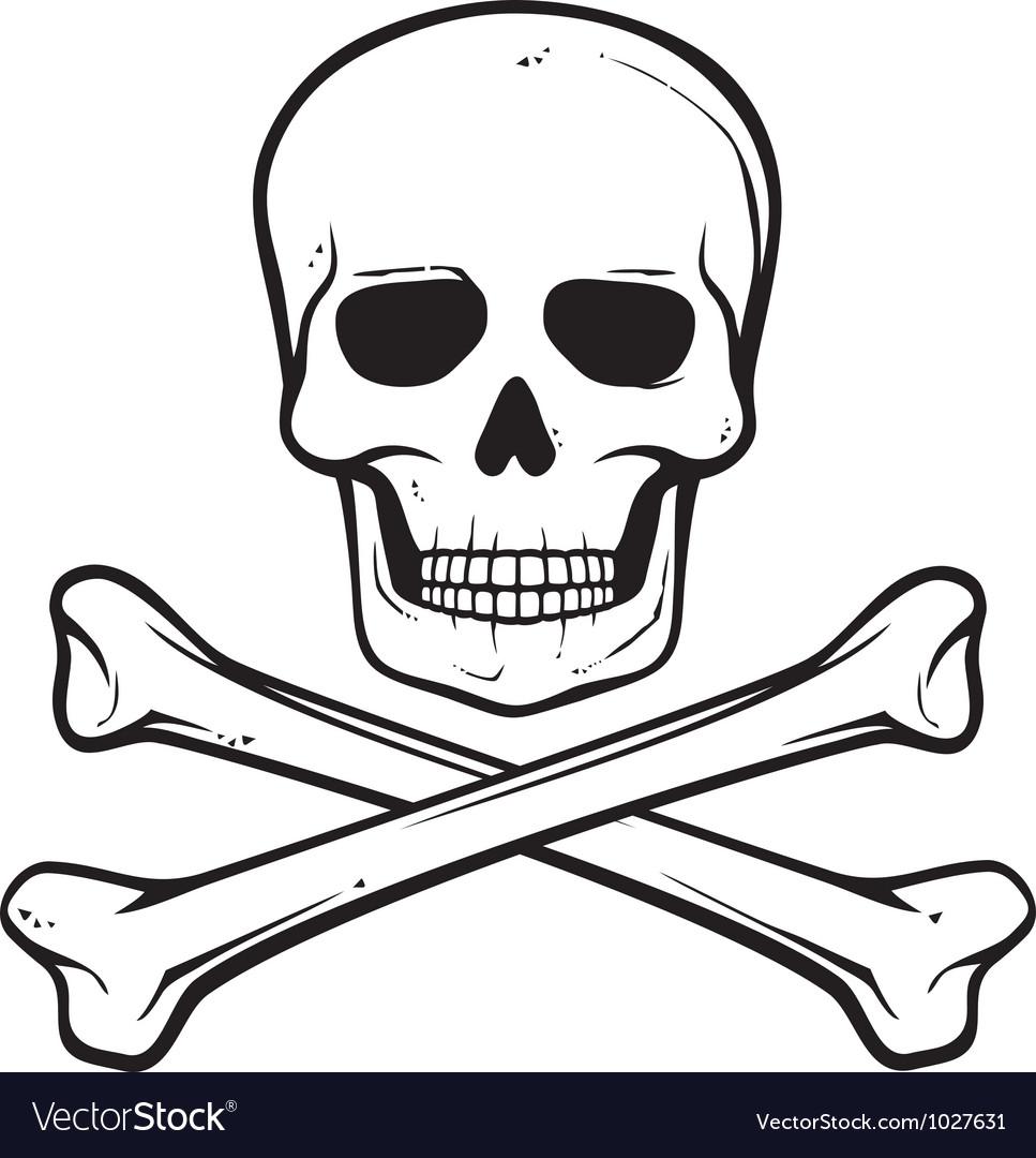 Skull with crossed bones - pirate symbol vector image