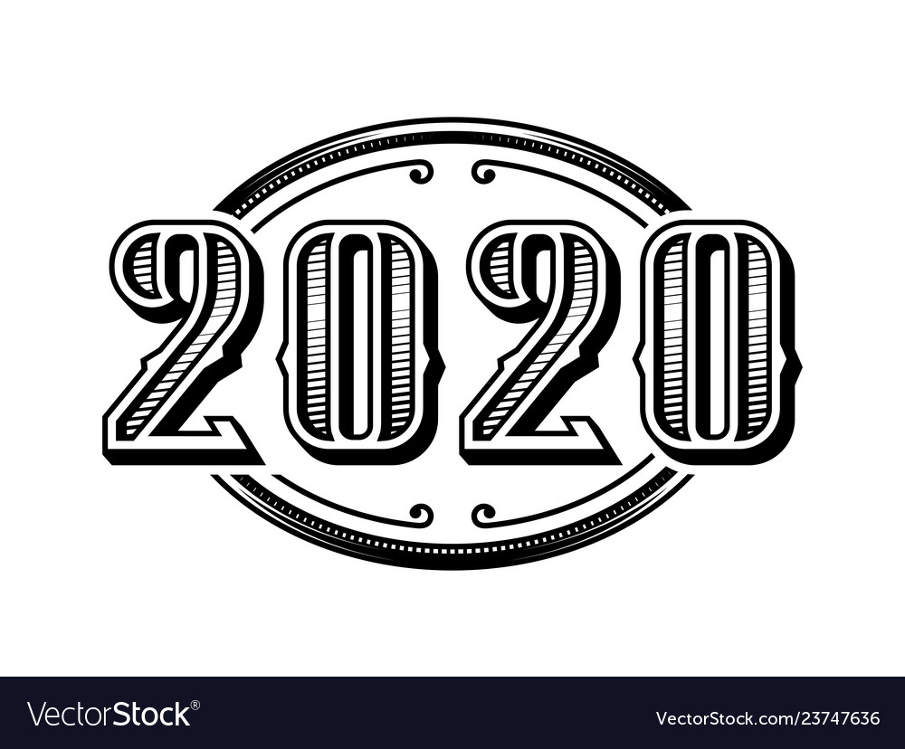 2020 numbers retro design in black and white style