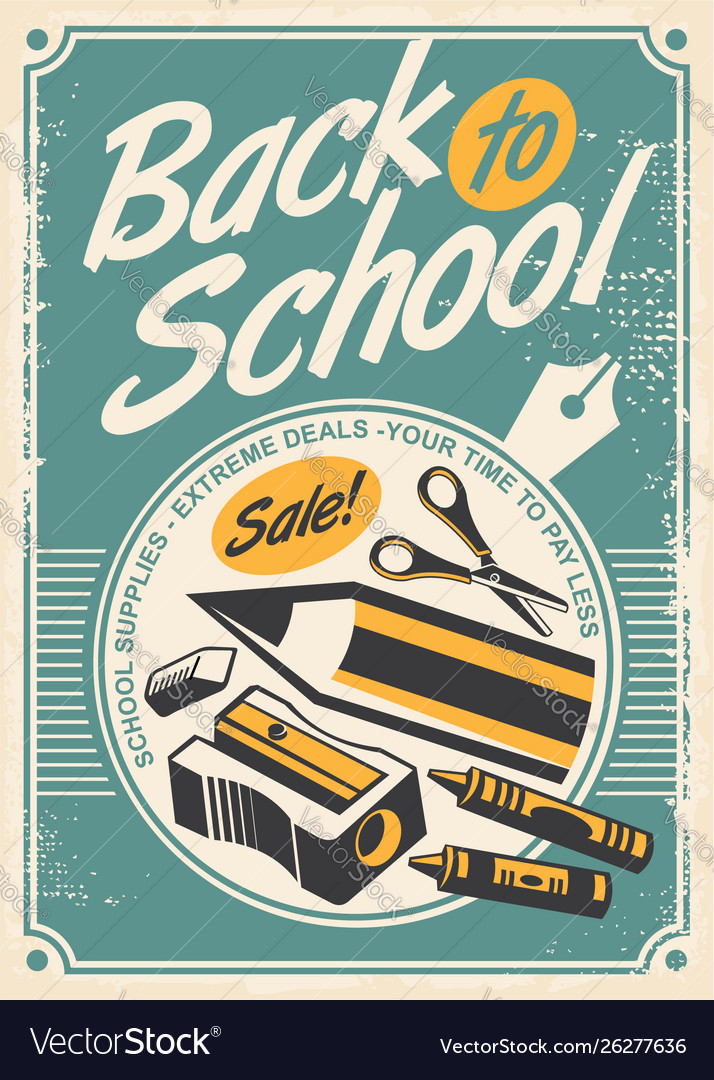 Back to school promotional retro poster design