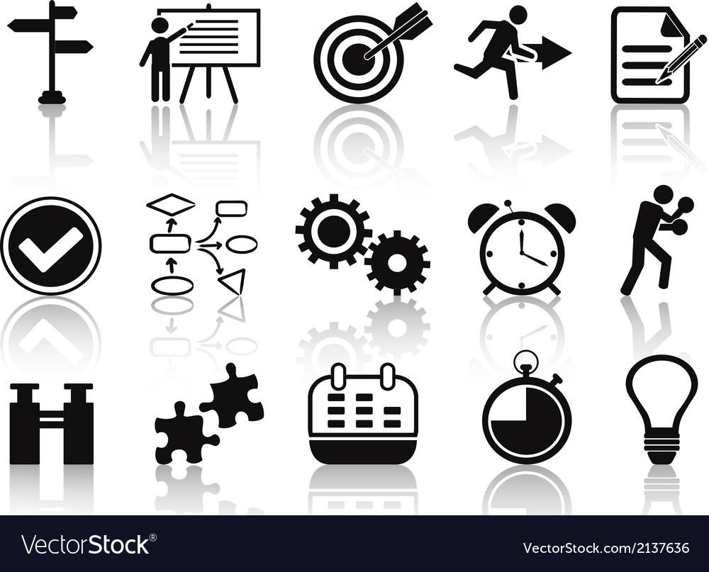 Black planning icons set