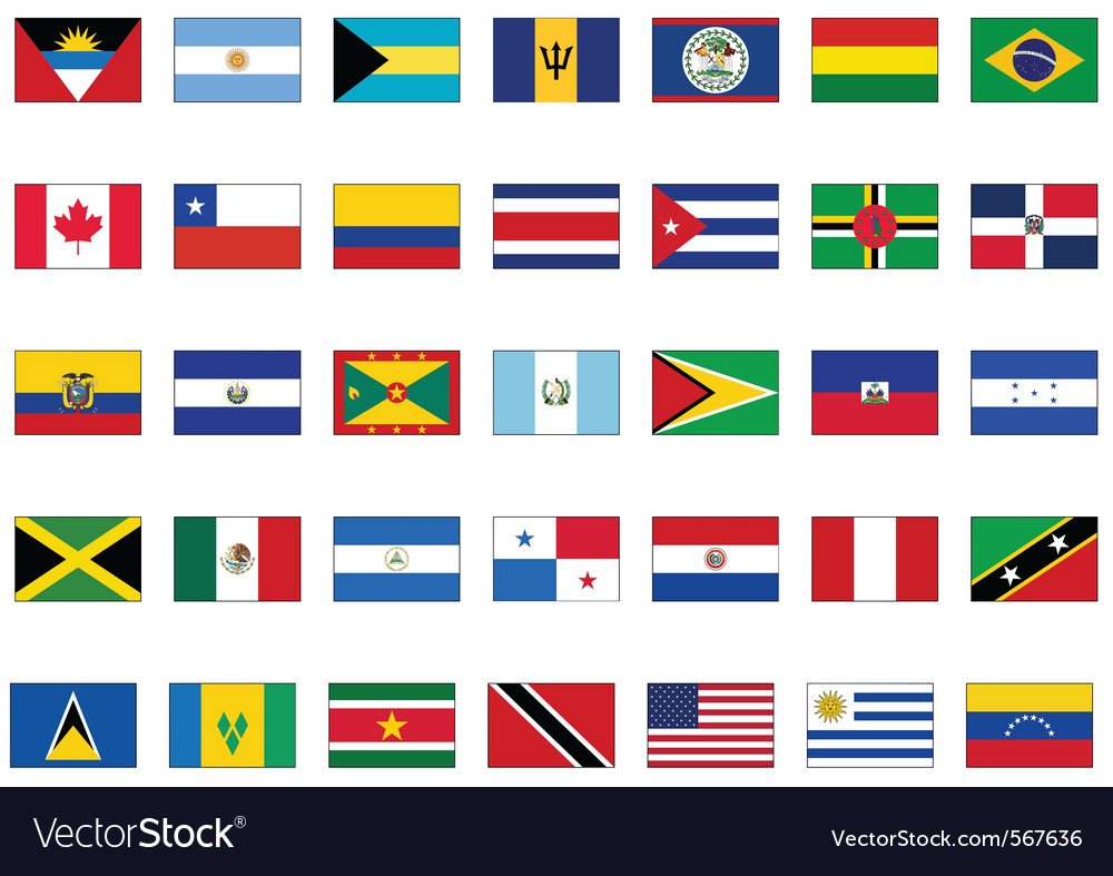Flag set all american countries