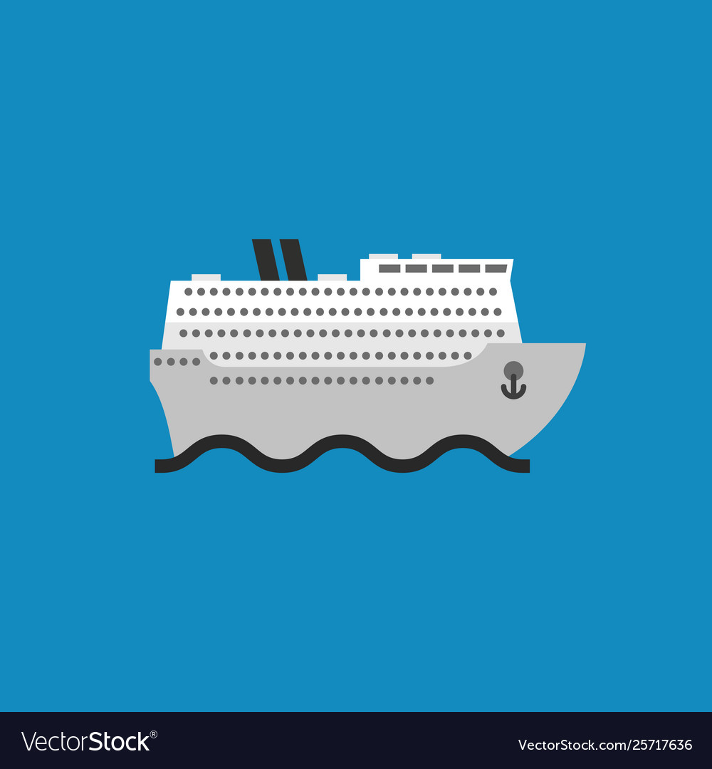 Ship icon in flat style