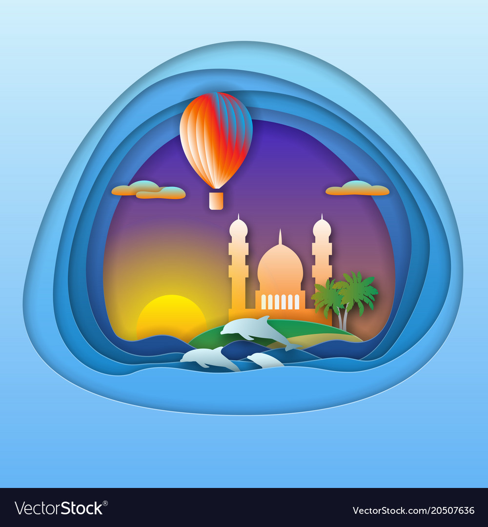 Sunset with balloon dolphins mosque and palm