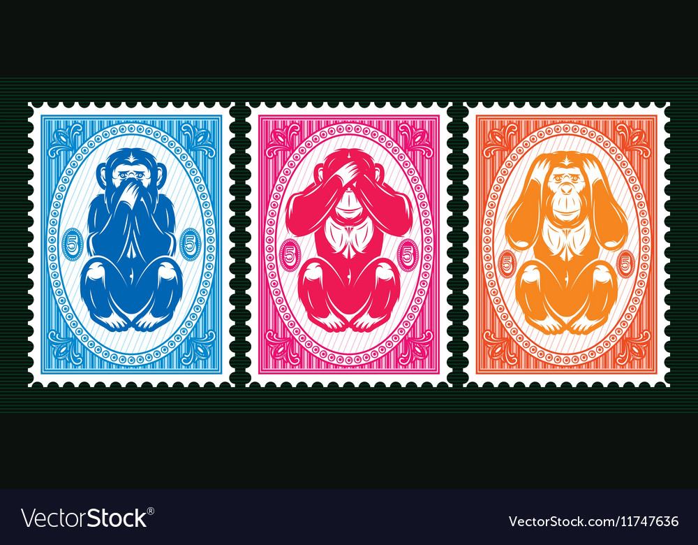 Three colored template with three monkeys