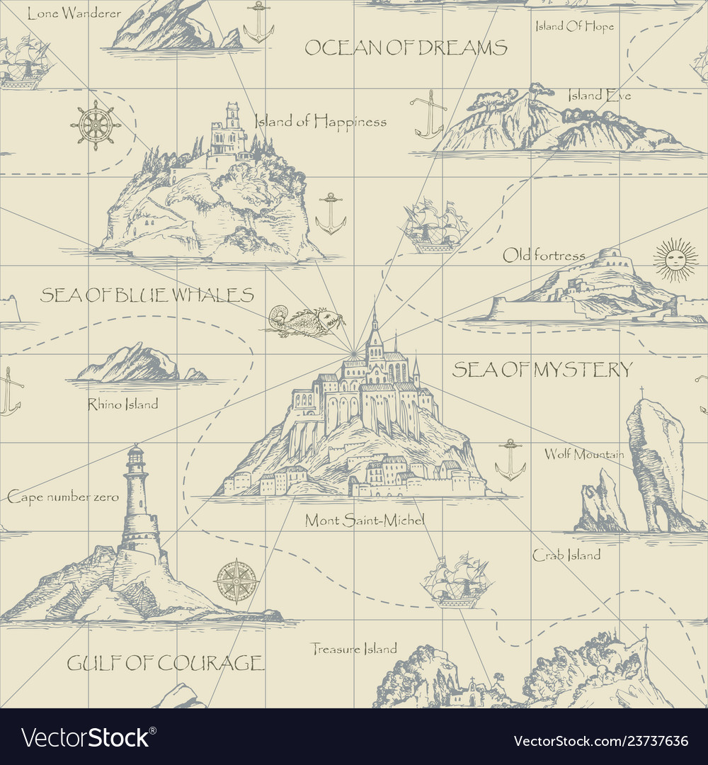 Vintage seamless background on the theme of travel