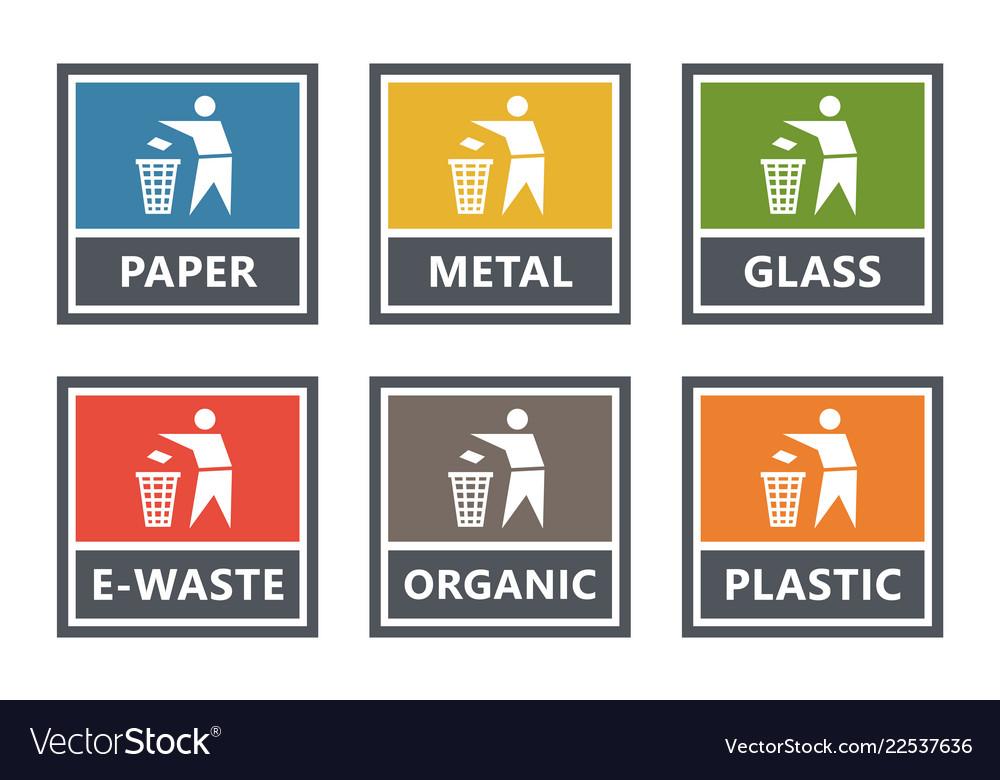 Waste management labels set waste sorting for