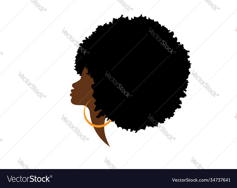 African american woman silhouette hair curly logo