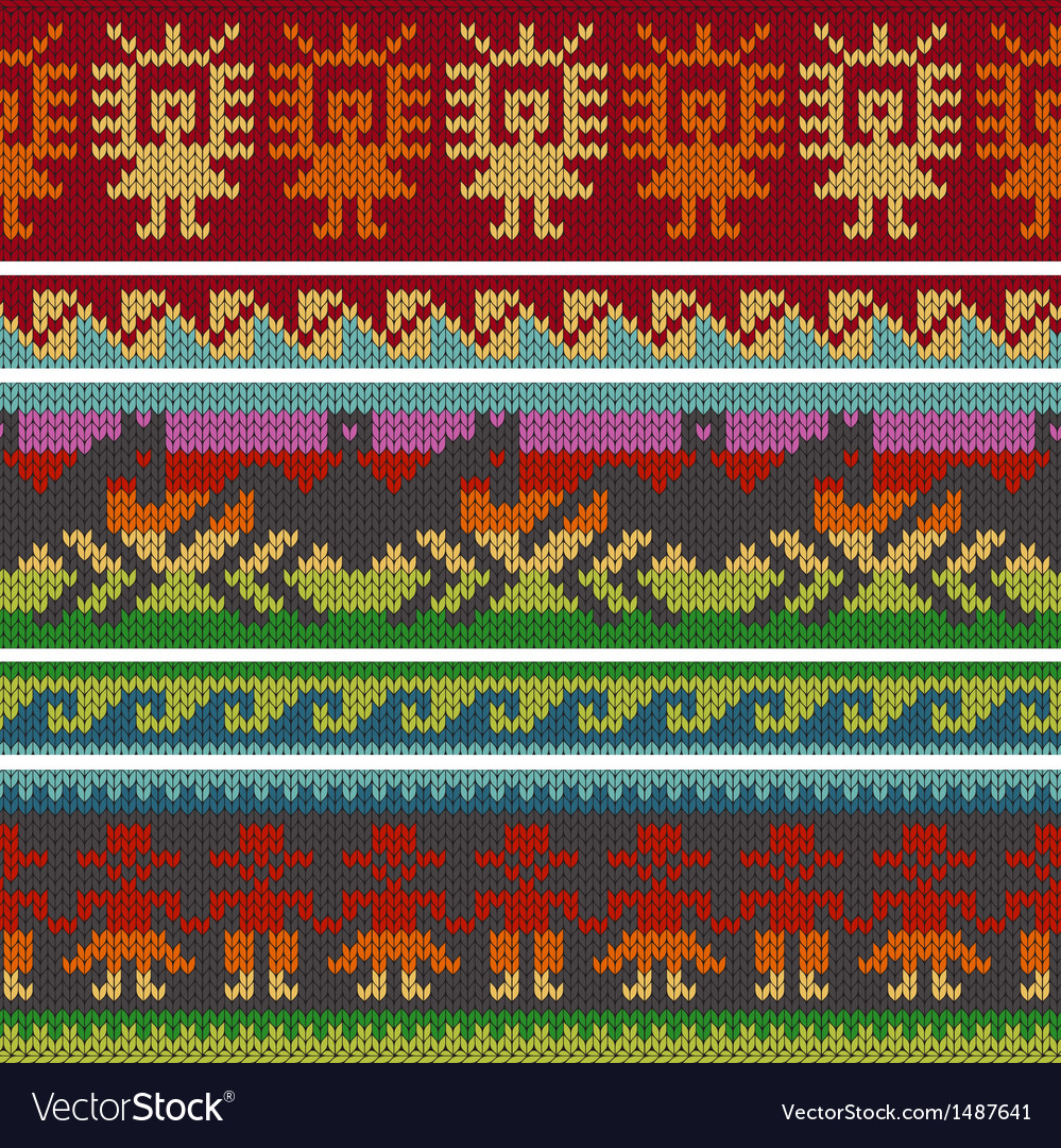 Andean Knitting Borders Royalty Free Vector Image