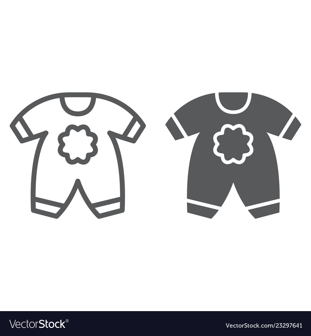 3c62fbf290f5 Baby clothes line and glyph icon kid and clothing Vector Image