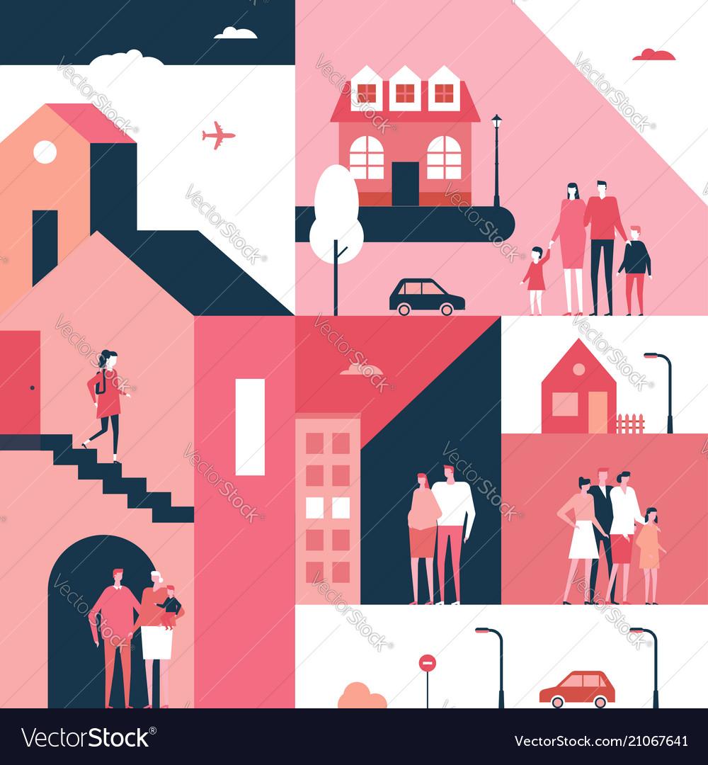 Family - flat design style conceptual vector image