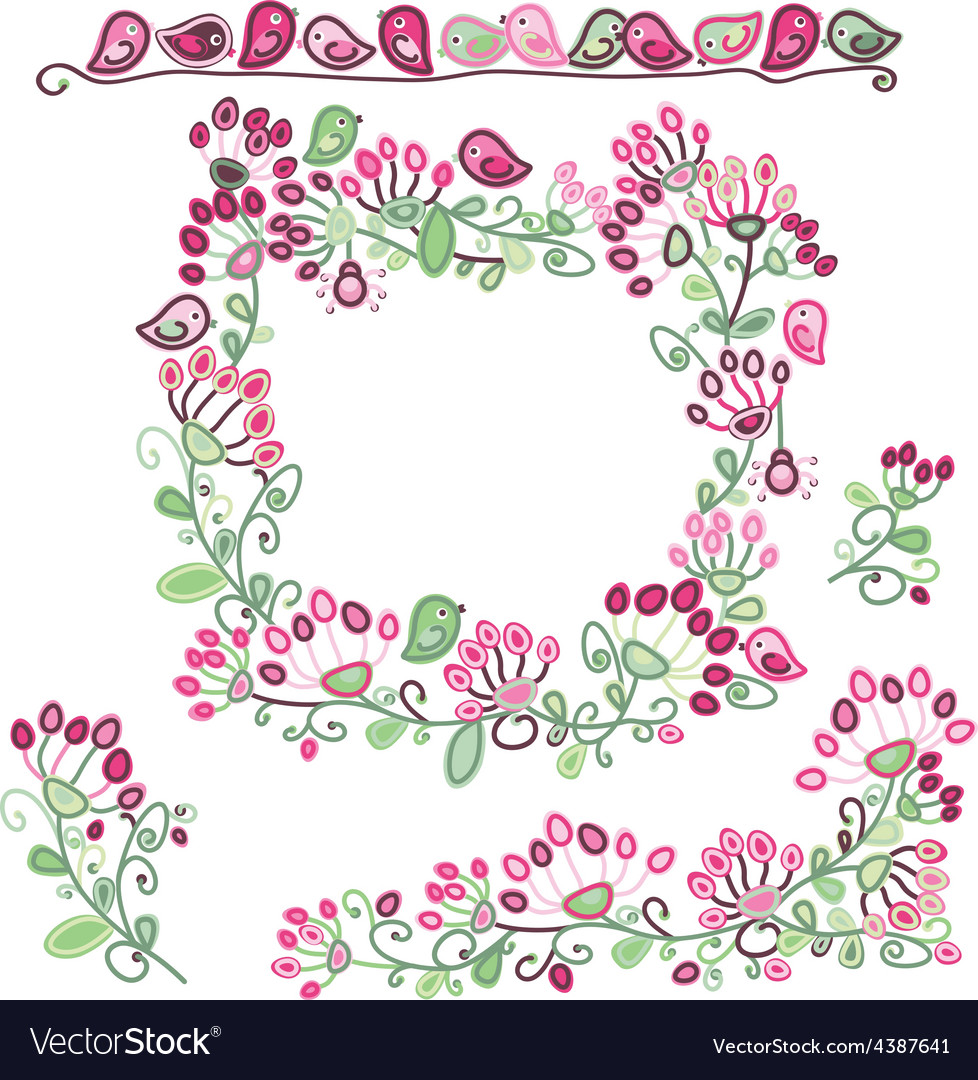 Frame elements floral pattern vector image