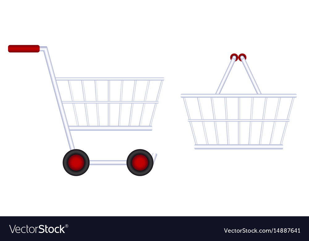 Grocery cart food basket vector image