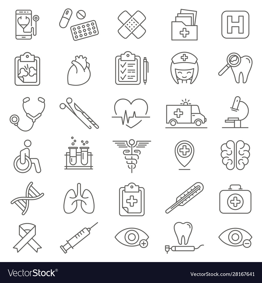 Medical care thin line icons