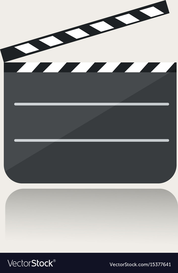 Modern movie clapper icon with reflection on vector image