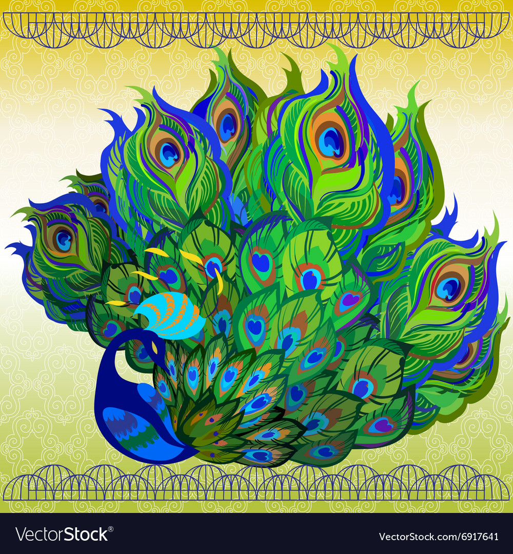 Peacock bird with fully fanned tail and light