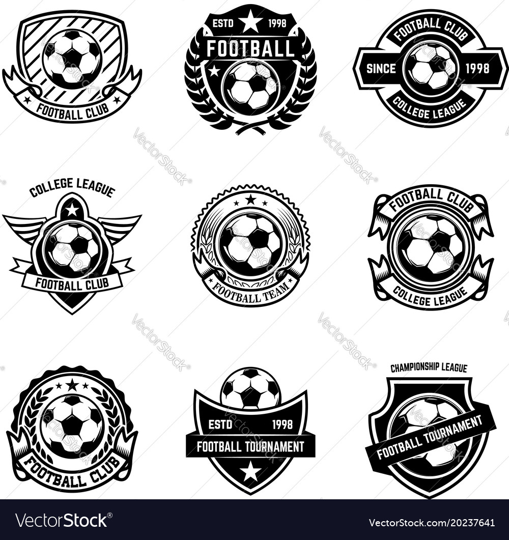 Set of winged emblems with soccer ball design