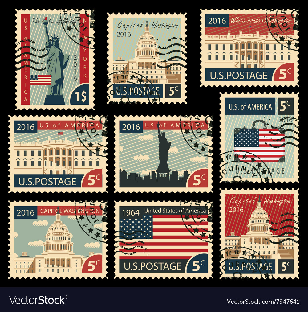 Stamps with united states america landmarks