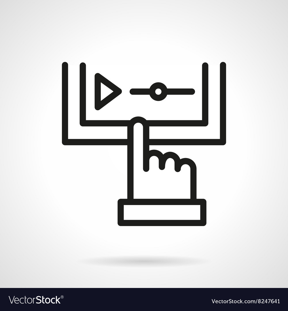 Video playback simple line icon vector image