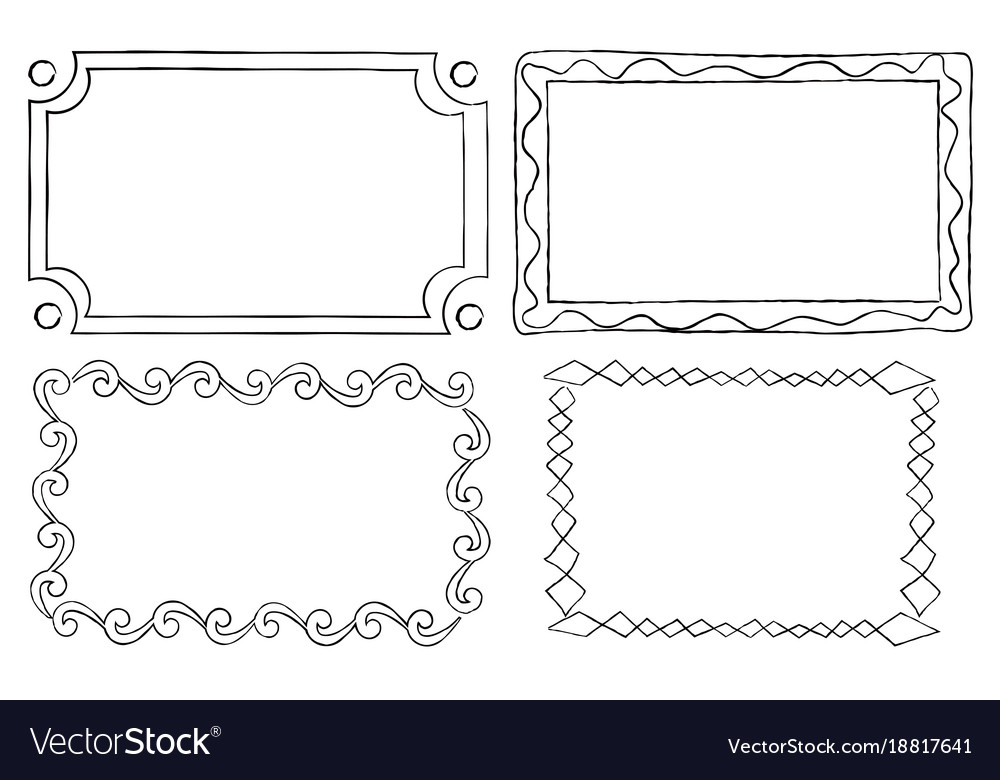 Vintage ornamental frames in linear graphic style Vector Image