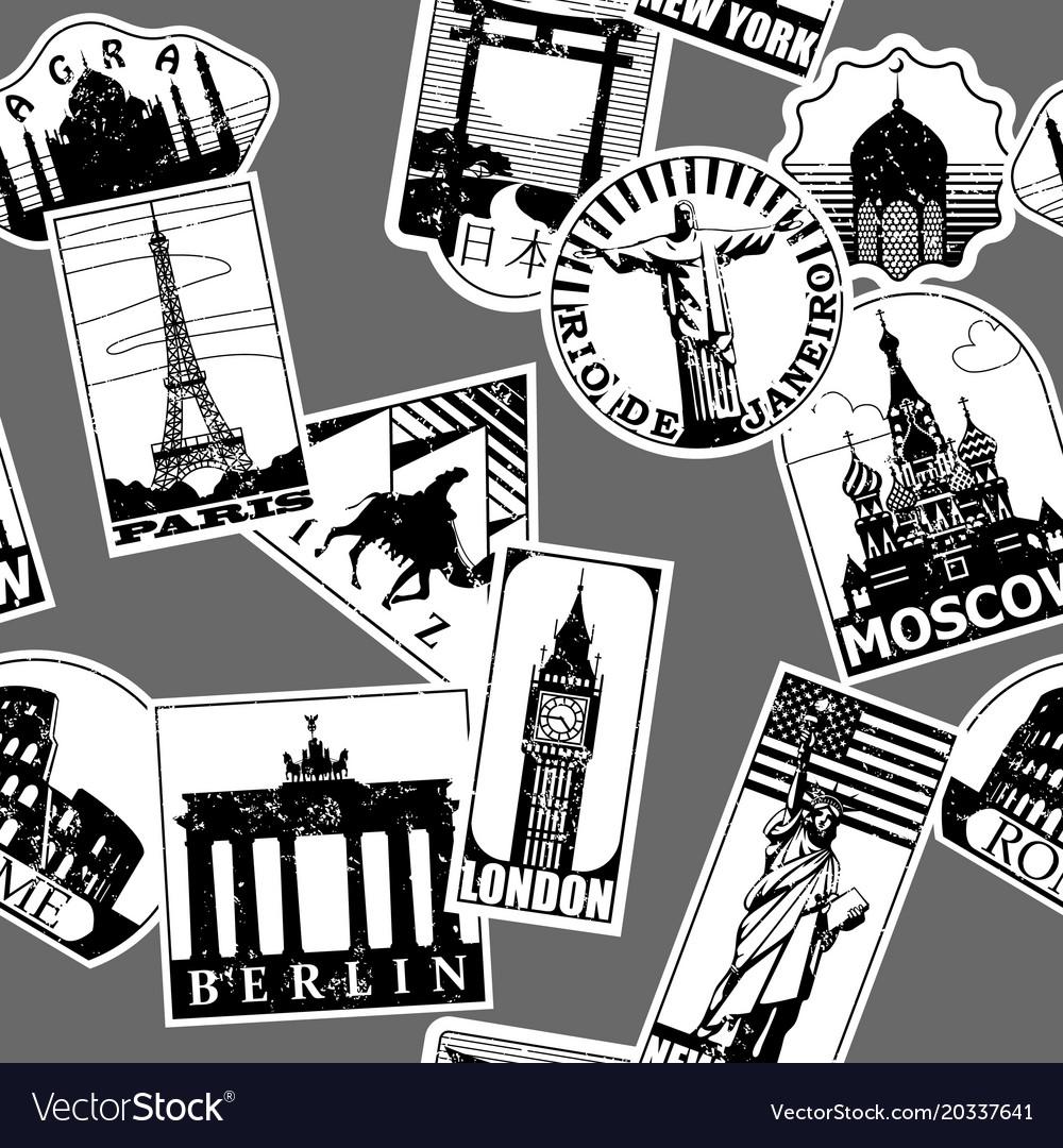 Vintage paper landmarks travel labels seamless