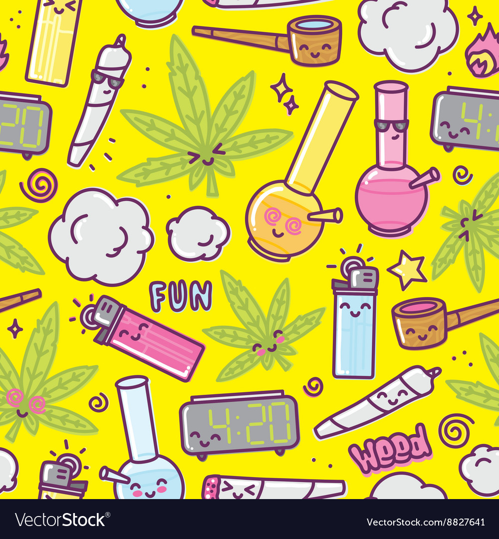 Weed kawaii cartoon seamless pattern