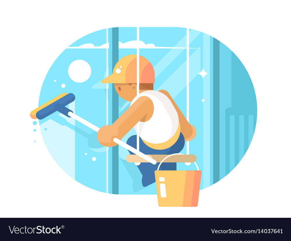 Window cleaner washes glass