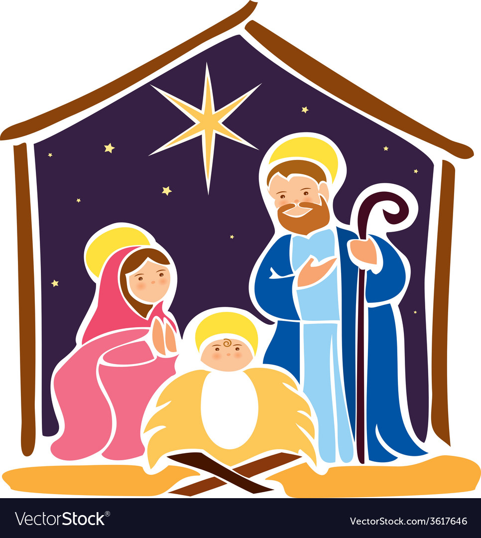 baby jesus in a manger 5 royalty free vector image