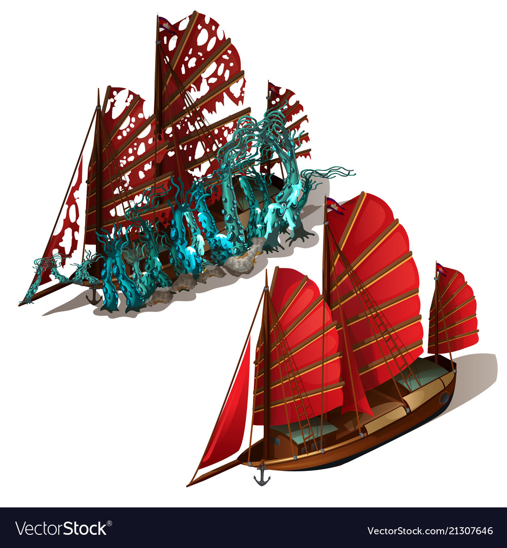 Beautiful old sailboat with red sails isolated on